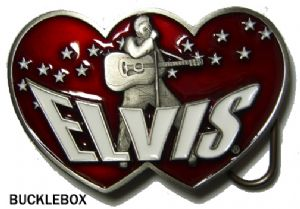 Elvis Presley Double Heart Belt Buckle - Limited Edition of 10000 + display stand. Code PG3